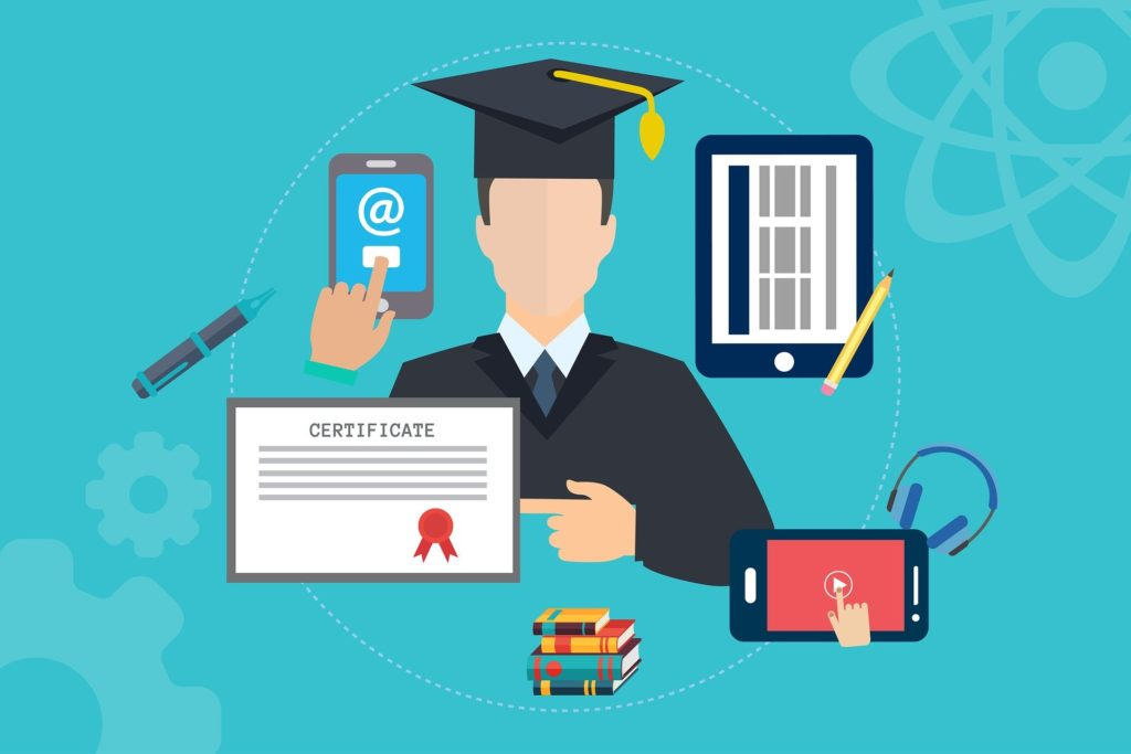 Rochester Hills Area Schools main image of a graduate with diploma and electronic learning tolls